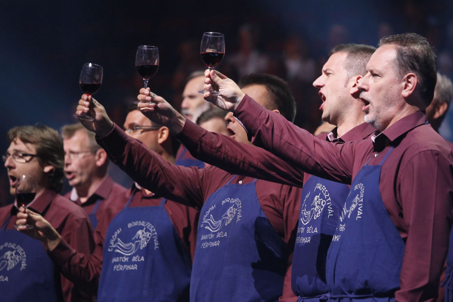 Hungarian male choir performing with wine glasses © Studi43