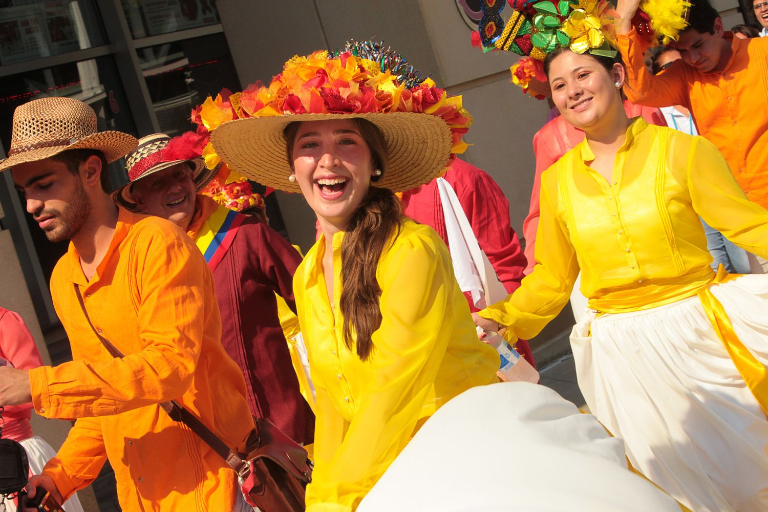 Happy singers at a parade